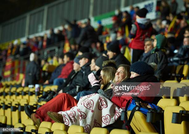 Fans of FC Nordsjalland during the Danish Alka Superliga match between FC Nordsjalland and Lyngby BK at Right to Dream Park on February 17 2017 in...
