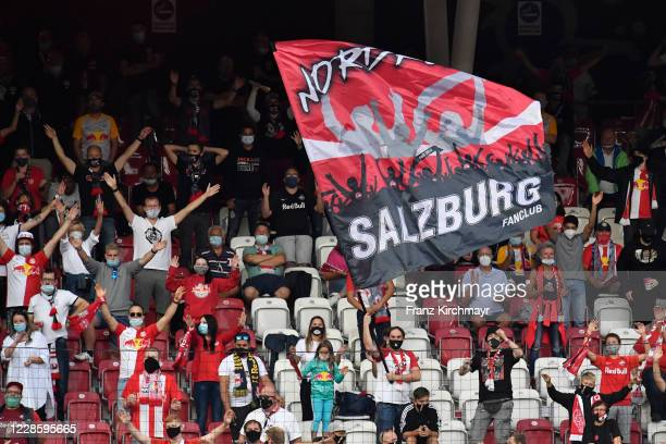 Fans of FC Read Bull Salzburg during the tipico Bundesliga match between FC Red Bull Salzburg and CASHPOINT SCR Altach at Red Bull Arena on September...