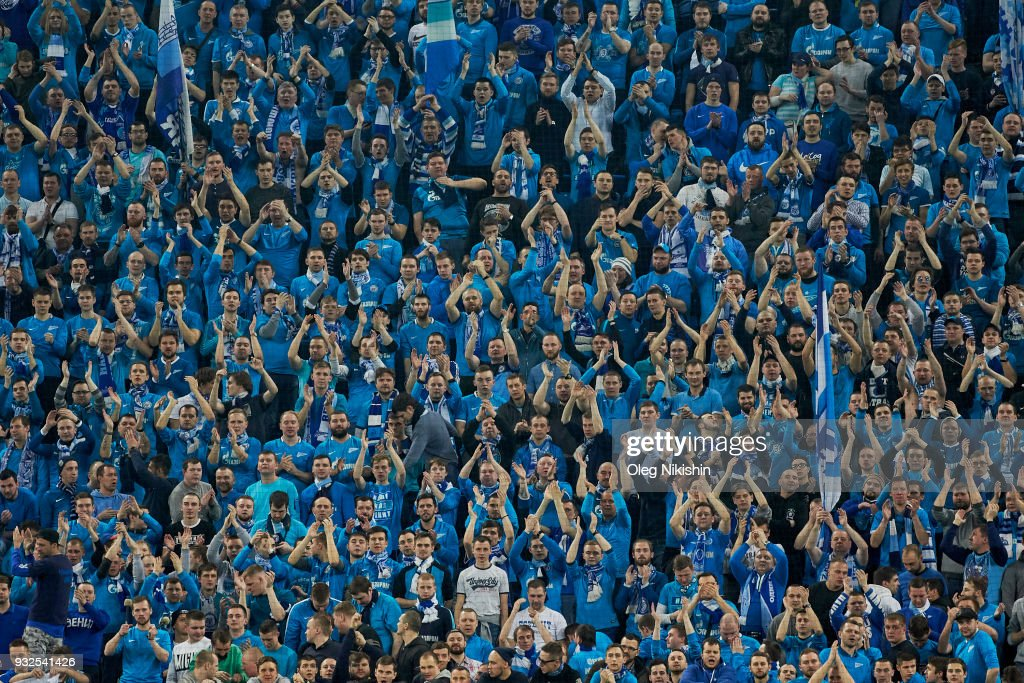 Fans of FC Zenit during UEFA Europa League Round of 16 match between Zenit St Petersburg and RB Leipzig at the on March 15, 2018 in Saint Petersburg, Russia.