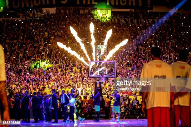Fans of Fenerbahce support their team ahead of the Turkish Airlines Euroleague Final Four basketball final match between Fenerbahce and Olympiacos at...