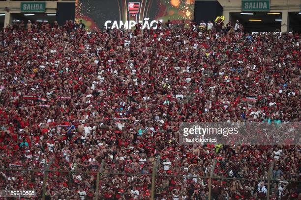 Fans of Flamengo celebrate the championship after the final match of Copa CONMEBOL Libertadores 2019 between Flamengo and River Plate at Estadio...