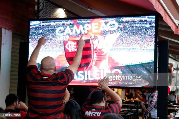 Fans of Flamengo celebrate their team win the Copa do Brasil after Gremio defeated Palmeiras the celebrations the day after Flamengo won the Copa...