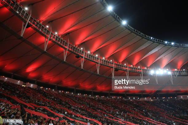 Fans of Flamengo cheer for their team prior a second leg semifinal match between Flamengo and Gremio as part of Copa CONMEBOL Libertadores at...