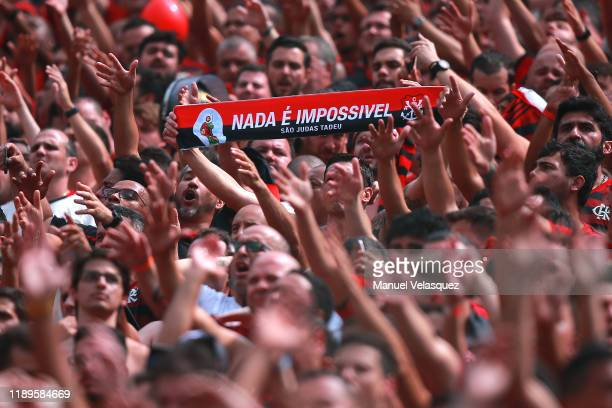 Fans of Flamengo cheer their team prior to the final match of Copa CONMEBOL Libertadores 2019 between Flamengo and River Plate at Estadio Monumental...