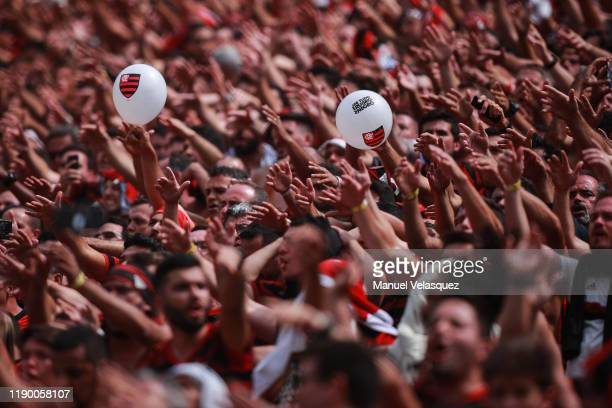 Fans of Flamengo during the final match of Copa CONMEBOL Libertadores 2019 between Flamengo and River Plate at Estadio Monumental on November 23 2019...