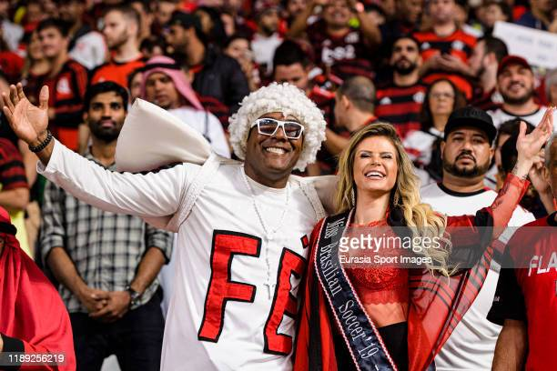 Fans of Flamengo enjoy the atmosphere prior the FIFA Club World Cup SemiFinal match between CR Flamengo and Al Hilal FC at Khalifa International...