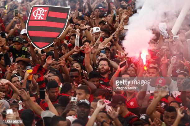 Fans of Flamengo farewell the team with a party called the Aerofla before the trip to the Copa CONMEBOL Libertadores Final at Rio de Janeiro Antonio...