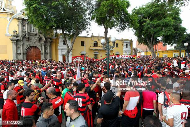 Fans of Flamengo gather at Barranco's main square ahead of the final match of Copa CONMEBOL Libertadores 2019 on November 21 2019 in Lima Peru River...