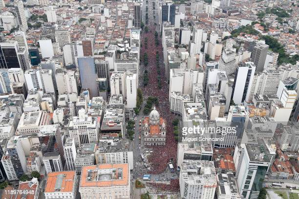 Fans of Flamengo gather during the celebrations the day after Flamengo won the Copa CONMEBOL Libertadores at Avenida Presidente Vargas in Candelária...
