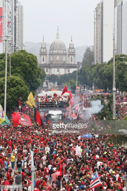 Fans of Flamengo gather during the celebrations the day after Flamengo won the Copa CONMEBOL Libertadores on November 24 2019 in Rio de Janeiro Brazil