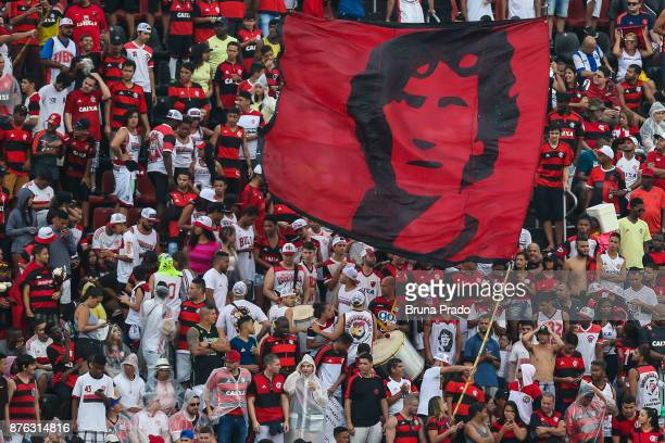 Fans of Flamengo in action during the Brasileirao Series A 2017 match between Flamengo and Corinthians at Ilha do Urubu Stadium on November 19 2017...