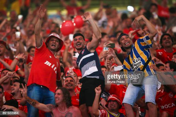 Fans of Flamengo Independiente in action before the Copa Sudamericana 2017 Final match between Flamengo and Independiente at Maracana Stadium on...