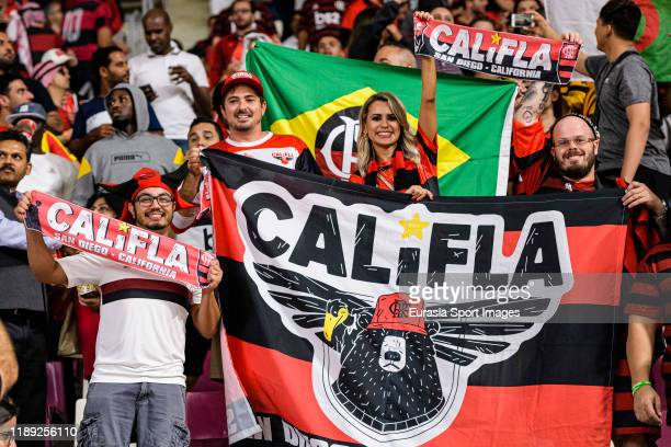Fans of Flamengo show their scarfs prior the FIFA Club World Cup SemiFinal match between CR Flamengo and Al Hilal FC at Khalifa International Stadium...