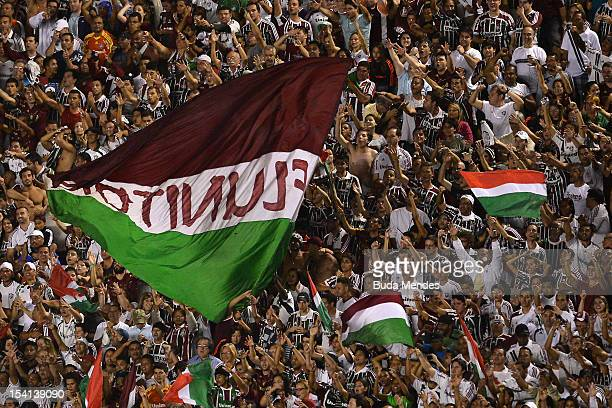 Fans of Fluminense celebrate a victory against Ponte Preta during a match between Fluminense and Ponte Preta as part of the brazilian championship...