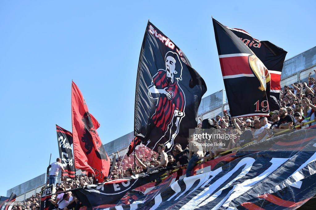 Fans of Foggia Calcio 1920 during the serie B match between Foggia Calcio and Bari FC at Stadio Pino Zaccheria on April 21, 2018 in Foggia, Italy.