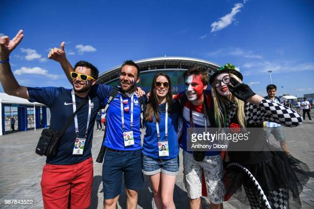 Fans of France during the FIFA World Cup Round of 16 match between France and Argentina at Kazan Arena on June 30 2018 in Kazan Russia