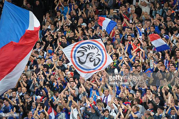 Fans of France during the international friendly match between France and Cameroon at Stade de la Beaujoire on May 30 2016 in Nantes France