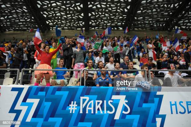 Fans of France during the match between Kenya and France at the HSBC Paris Sevens stage of the Rugby Sevens World Series on May 13 2017 in Paris...