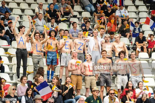 Fans of France during the match between South Africa and Spain at the HSBC Paris Sevens stage of the Rugby Sevens World Series at Stade Jean Bouin on...
