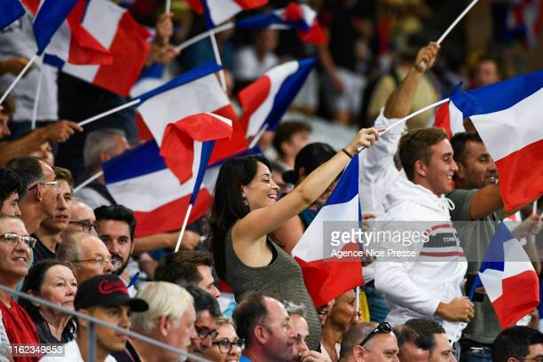 Fans of France during the test match between France and Scotland on August 17, 2019 in Nice, France.