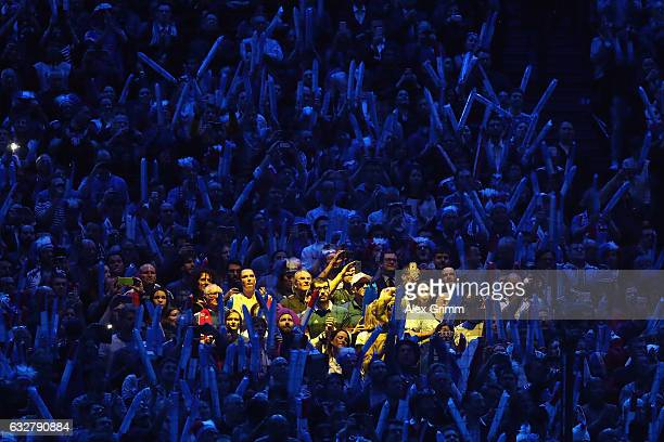Fans of France enjoy the atmosphere during the 25th IHF Men's World Championship 2017 Semi Final match between France and Slovenia at Accorhotels...