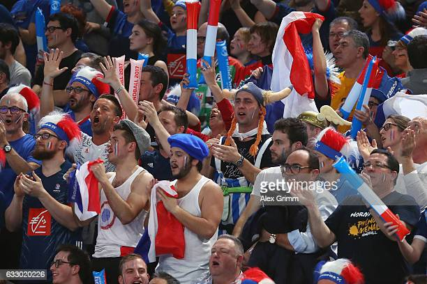 Fans of France enjoy the atmosphere during the 25th IHF Men's World Championship 2017 Final between France and Norway at Accorhotels Arena on January...