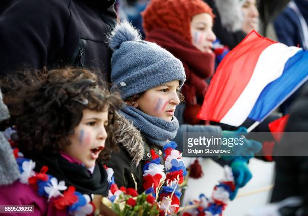 Fans of France give their support during the U23 Men's award ceremony during SPAR European Cross Country Championships on December 10 2017 in Samorin...