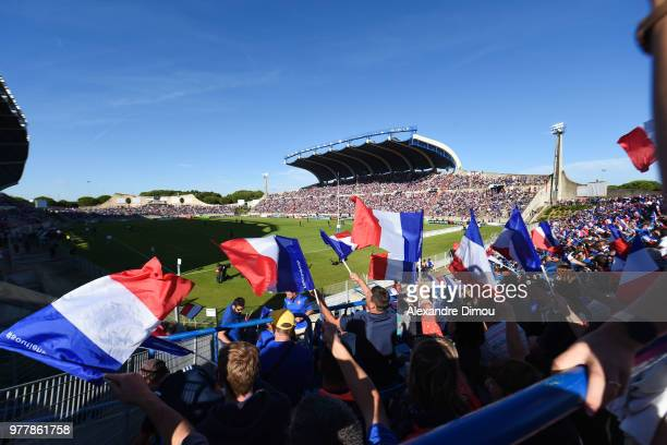 Fans of France in Stade de la Mediterranee in Beziers during the Final World Championship U20 match between England and France on June 17 2018 in...