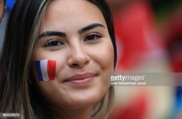 fans of France looks on during the 2018 FIFA World Cup Russia group C match between Denmark and France at Luzhniki Stadium on June 26 2018 in Moscow...