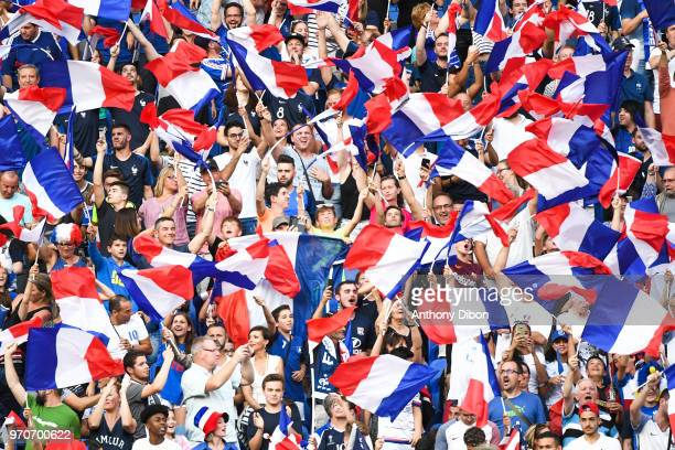 Fans of France with french flags during the International Friendly match between France and United States at Groupama Stadium on June 9 2018 in Lyon...