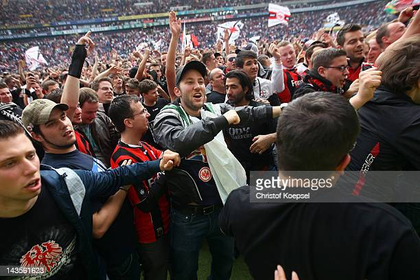 Fans of Frankfurt celebrate the ascent to the 1 Bundesliga aft the Second Bundesliga match between Eintracht Frankfurt and 1860 Muenchen at...