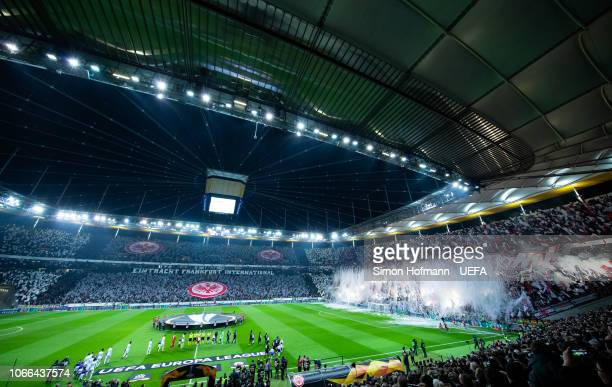 Fans of Frankfurt show a choreography as both teams walk on the pitch during the UEFA Europa League Group H match between Eintracht Frankfurt and...