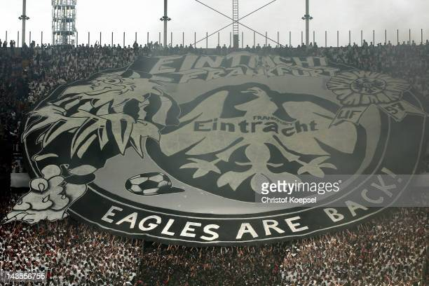 Fans of Frankfurt show a choreography during the Second Bundesliga match between Eintracht Frankfurt and 1860 Muenchen at Commerzbank-Arena on April...