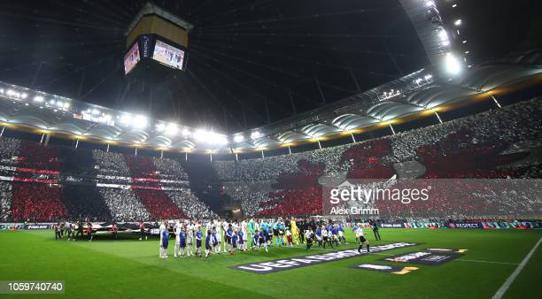 Fans of Frankfurt support their team prior to the UEFA Europa League Group H match between Eintracht Frankfurt and Apollon Limassol at...