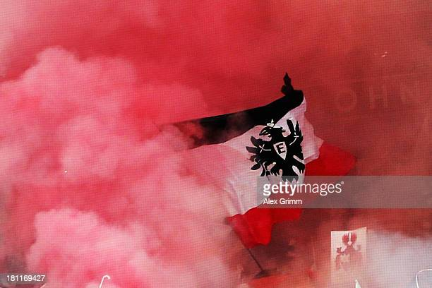 Fans of Frankfurt wave a flag prior to the UEFA Europa League Group F match between Eintracht Frankfurt and FC Girondins de Bordeaux at Commerzbank...