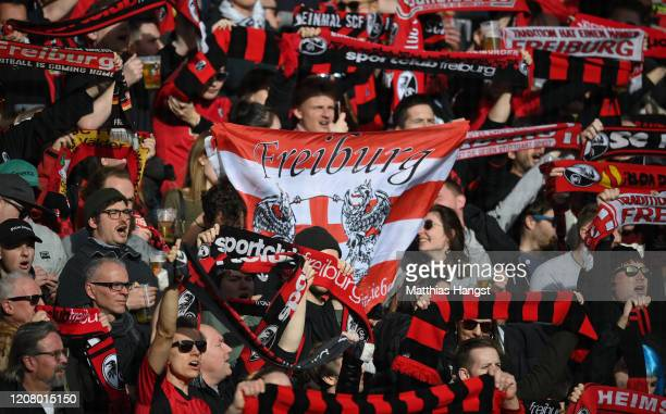 Fans of Freiburg seen during the Bundesliga match between Sport-Club Freiburg and Fortuna Duesseldorf at Schwarzwald-Stadion on February 22, 2020 in...