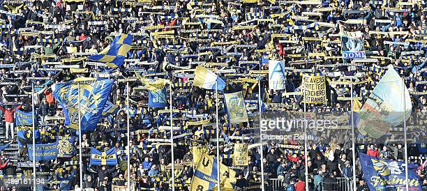 Fans of Frosinone during the Serie A match between Frosinone Calcio and Hellas Verona FC at Stadio Matusa on November 29 2015 in Frosinone Italy