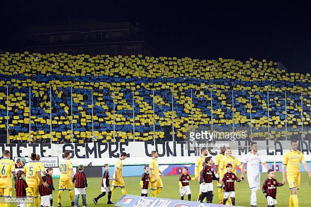 Fans of Frosinone during the Serie A match between Frosinone Calcio and AC Milan at Stadio Matusa on December 20 2015 in Frosinone Italy