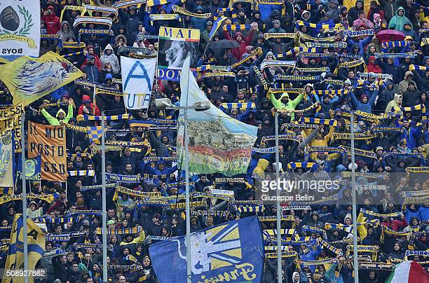 Fans of Frosinone during the Serie A match between Frosinone Calcio and Juventus FC at Stadio Matusa on February 7 2016 in Frosinone Italy