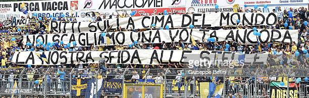 Fans of Frosinone during the Serie B match between Frosinone Cacio and FC Crotone at Stadio Matusa on May 16 2015 in Frosinone Italy