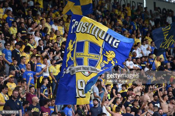 Fans of Frosinone show their support during the serie B playoff match final between Frosinone Calcio v US Citta di Palermo at Stadio Benito Stirpe on...