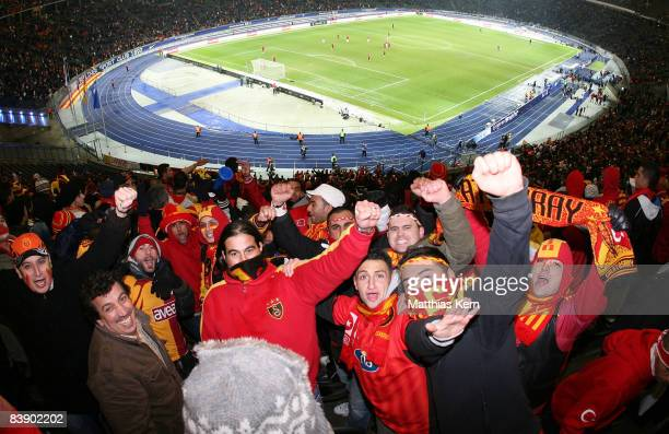 Fans of Galatasaray celebrate prior to the UEFA Cup Group B match between Hertha BSC Berlin and Galatasaray Istanbul at the Olympic stadium on...