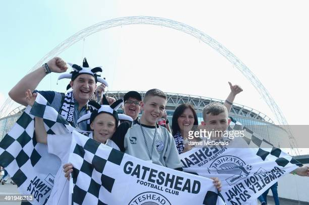 Fans of Gateshead FC show their colours prior to the Skrill Conference Premier PlayOffs Final between Cambridge United and Gateshead FC at Wembley...