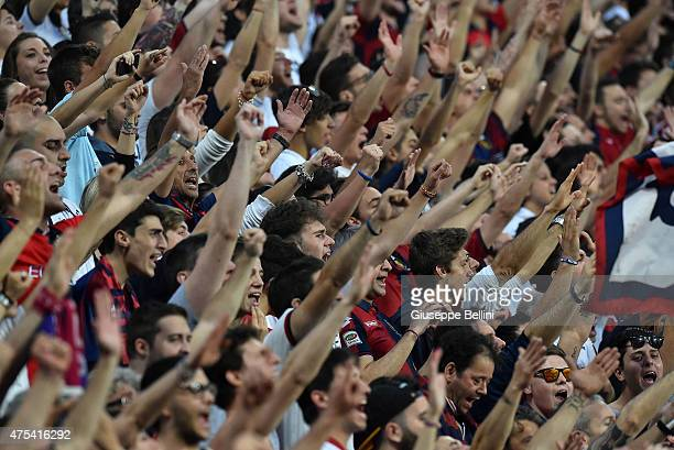 Fans of Genoa during the Serie A match between US Sassuolo Calcio and Genoa CFC at Mapei Stadium on May 31 2015 in Reggio nell'Emilia Italy