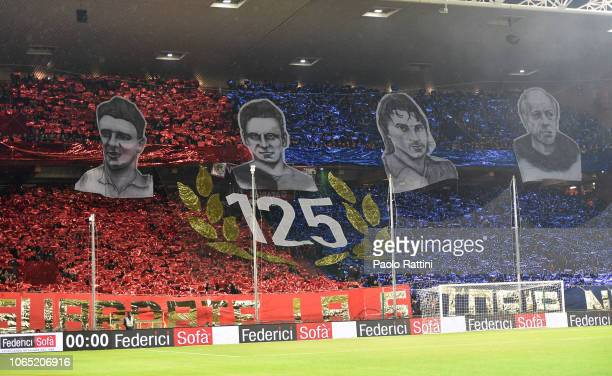 Fans of Genoa Stand Nord during the Serie A match between Genoa CFC and UC Sampdoria at Stadio Luigi Ferraris on November 25 2018 in Genoa Italy