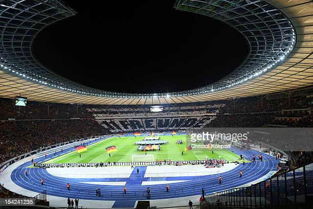 Fans of German National Team FRan Club show a choreography during the FIFA 2014 World Cup qualifier group C match between German and Sweden at...