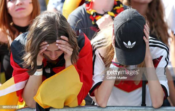 Fans of Germany are disappointed after watching the 2018 FIFA World Cup Russia Group F match between Korea Republic and Germany at the FIFA Fan Fest...