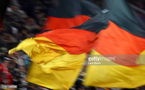 Fans of Germany are seen during the International Friendly match between Germany and Serbia at Volkswagen Arena on March 20 2019 in Wolfsburg Germany