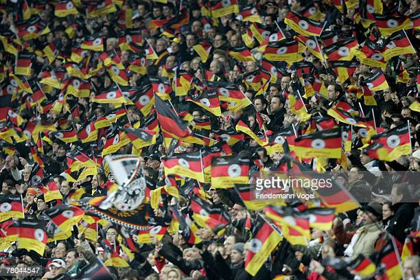 Fans of Germany celebrate during the UEFA Euro2008 Group D qualifying match between Germany and Wales at the Commerzbank Arena on November 21 2007 in...