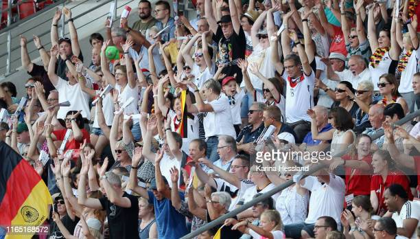 Fans of Germany celebrate during the Women's EM Qualification match between Germany and Montenegro at Auestadion on August 31 2019 in Kassel Germany